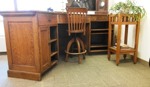 Carnegie desk, chair, plant stand