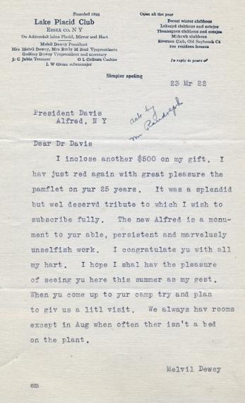 Dewey letter, 1922